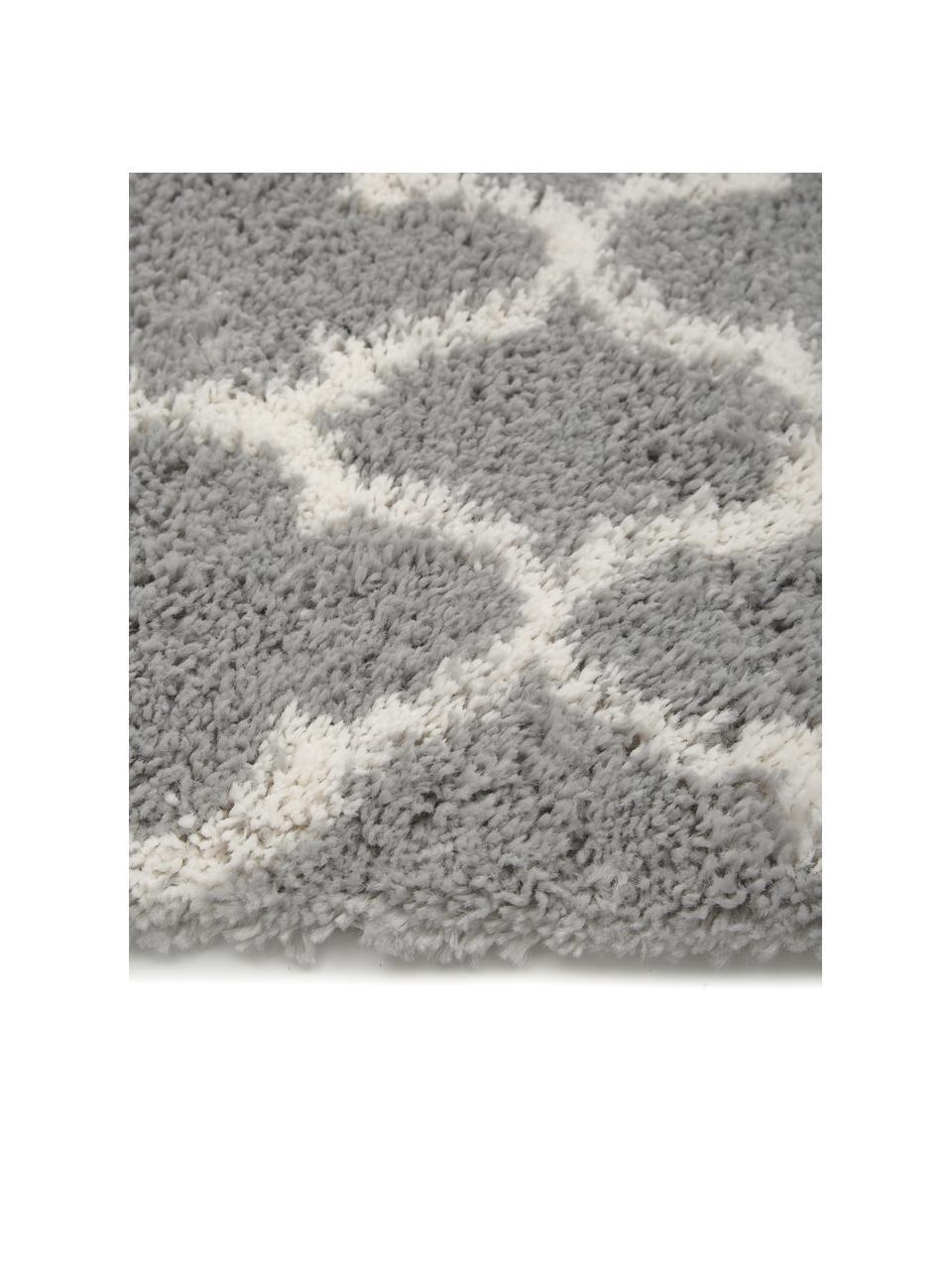 Hoogpolig vloerkleed Mona in grijs/crèmewit, Bovenzijde: 100% polypropyleen, Onderzijde: 78% jute, 14% katoen, 8% , Grijs, crèmewit, B 300 x L 400 cm (Maat XL)