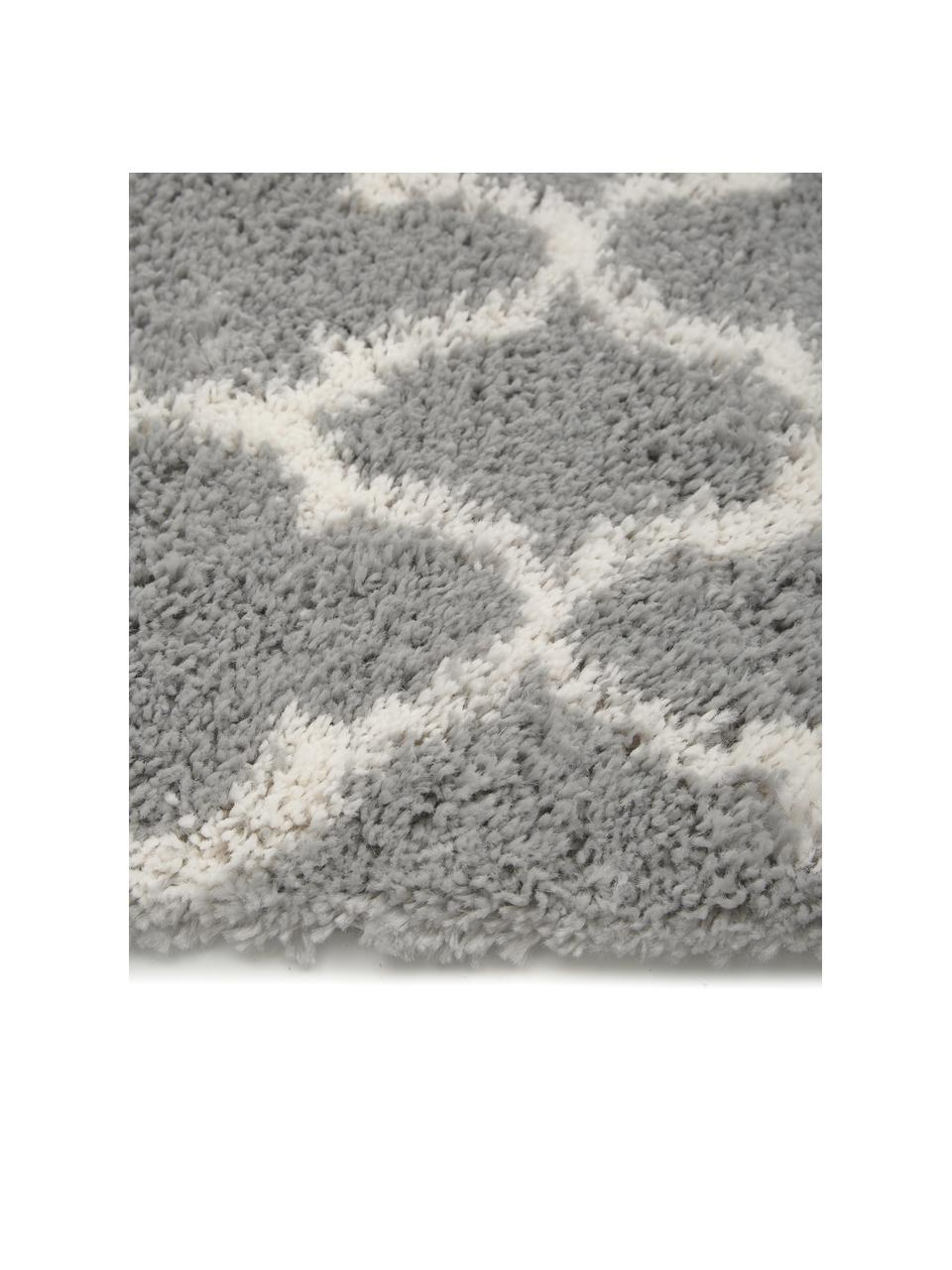 Tappeto a pelo lungo grigio/crema Mona, Retro: 78% juta, 14% cotone, 8% , Grigio, bianco crema, Larg. 300 x Lung. 400 cm (taglia XL)