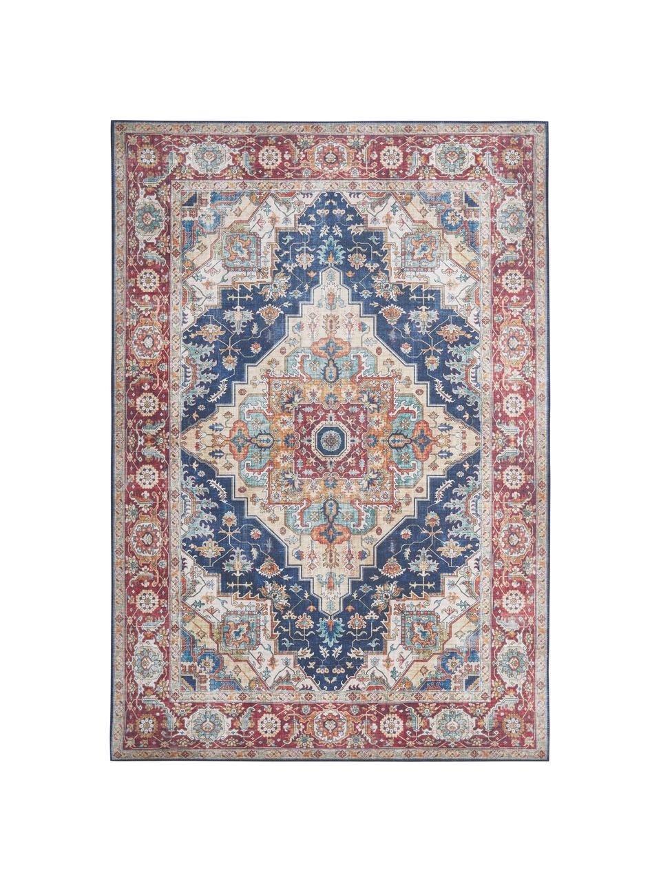 Vintage vloerkleed Sylla in donkerrood/blauw, Blauw, rood, B 200 x L 290 cm (maat L)