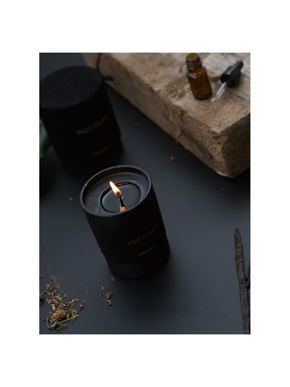 Candela profumata Nuit Noire (gelsomino, muschio), Contenitore: vetro, floccato, Nero, Ø 8 x A 10 cm