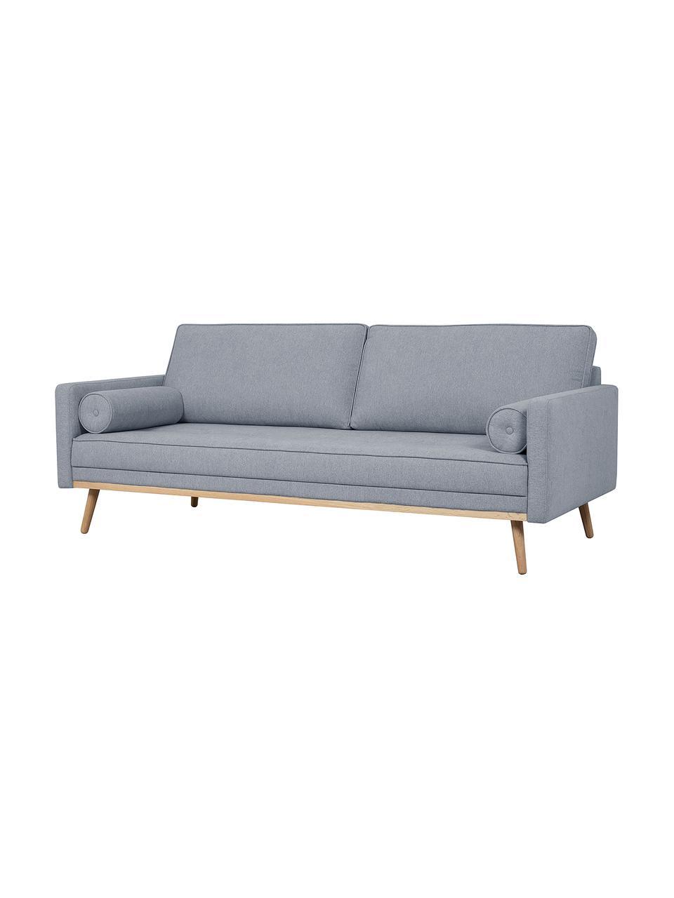 Sofa z nogami z drewna dębowego Saint (3-osobowa), Tapicerka: poliester Dzięki tkaninie, Niebieskoszary, S 210 x W 70 cm