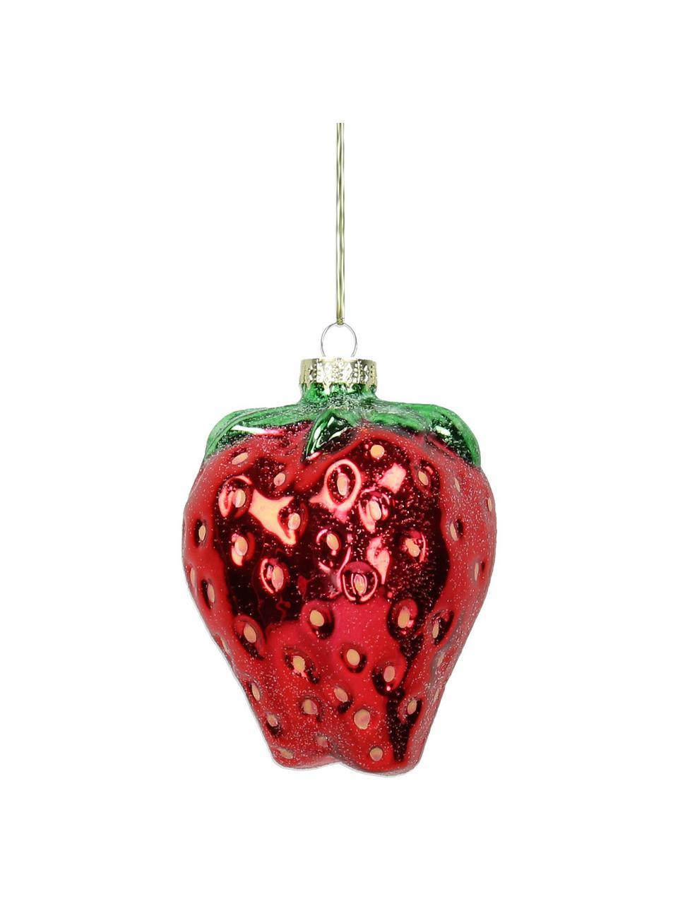 Baumanhänger Strawberry, 2 Stück, Rot, Grün, Ø 7 x H 9 cm