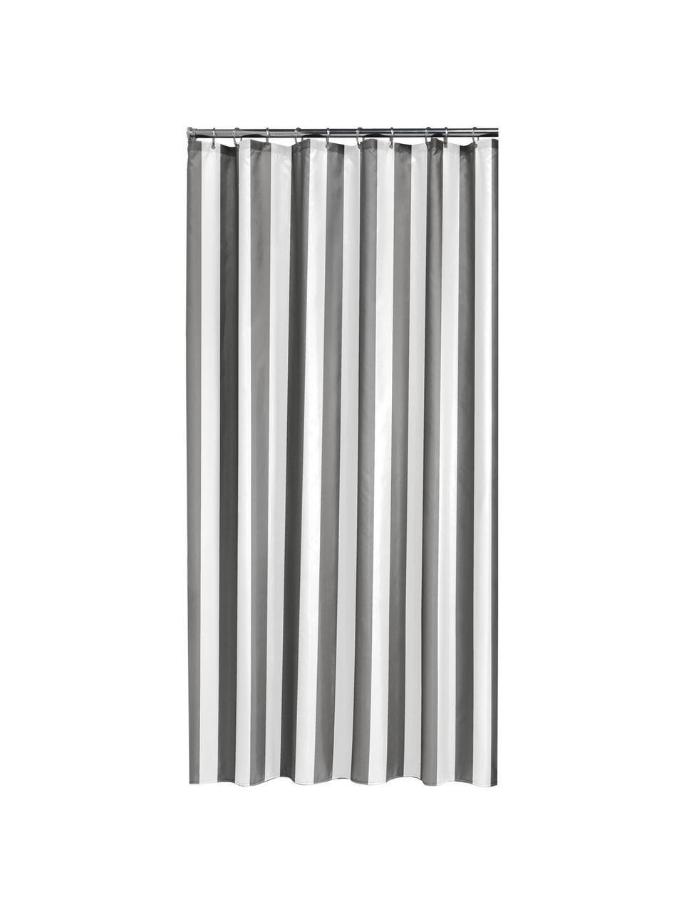 Gestreifter Duschvorhang Maggie, Grau, Weiß, 180 x 200 cm