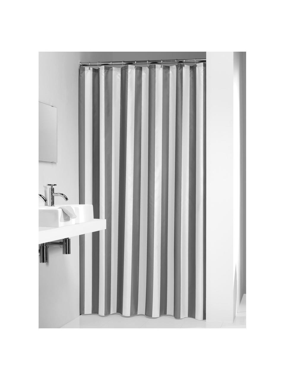 Rideau de douche à rayures Maggie, Gris, blanc
