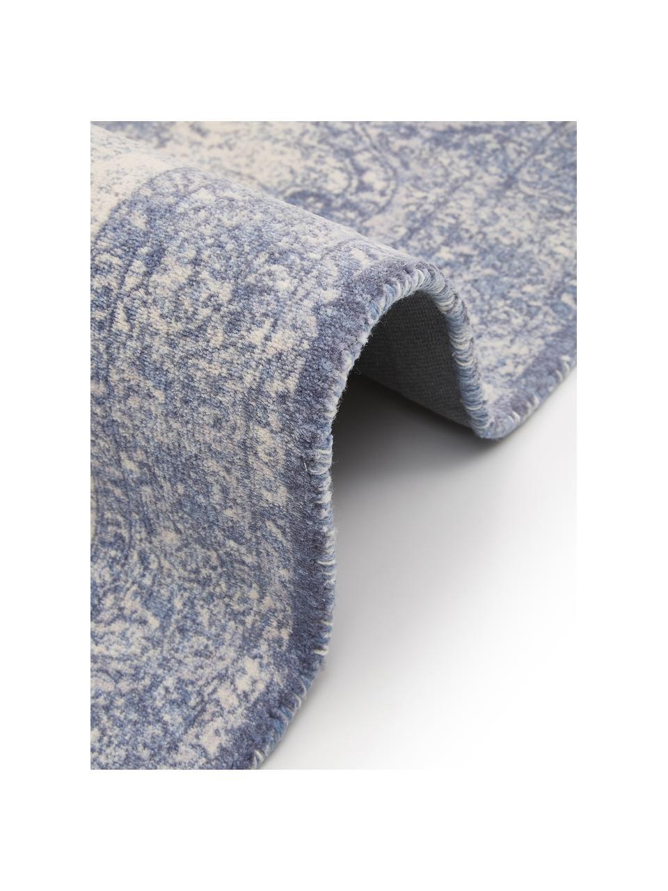 Vloerkleed Elegant in vintage stijl, Bovenzijde: 100% nylon, Onderzijde: 100% katoen, Blauw, B 120 x L 180 cm (maat S)