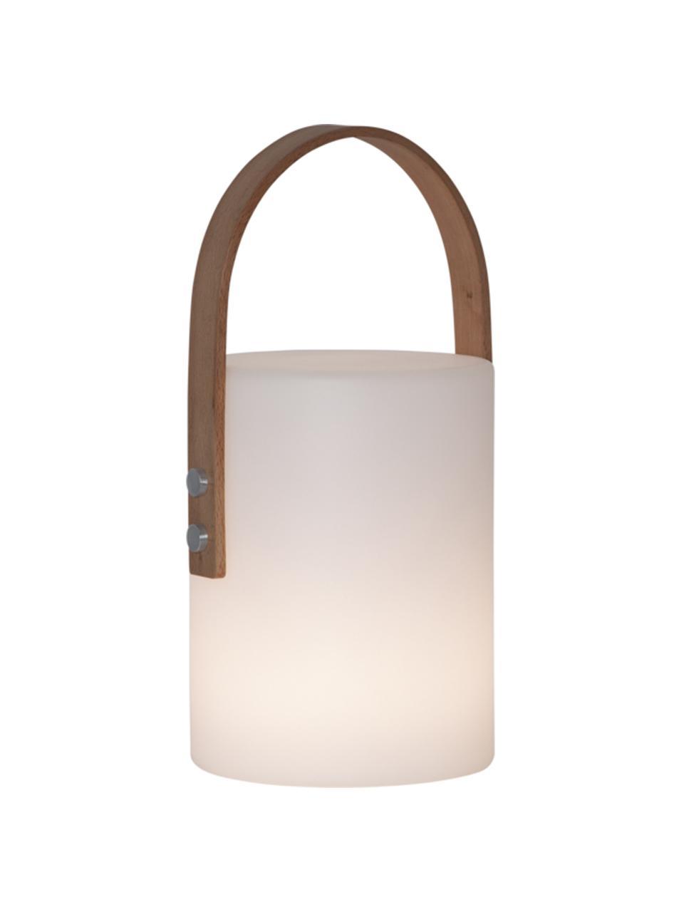 Mobile Dimmbare Außentischlampe Lucie, Lampenschirm: Kunststoff, Griff: Holz, Dekor: Metall, Weiß, Holz, 19 x 34 cm