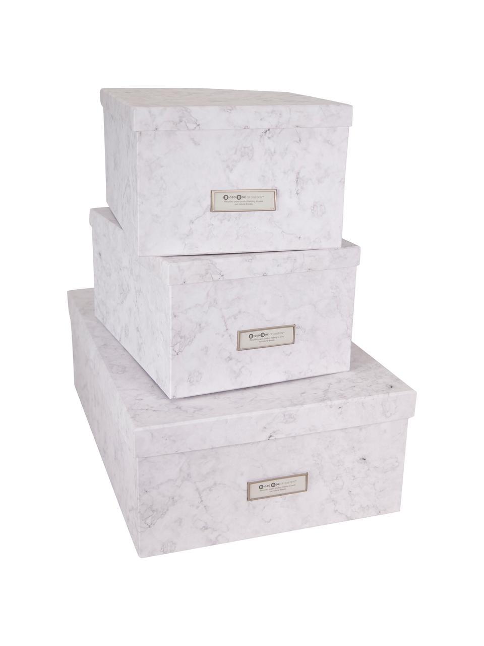 Set 3 scatole Inge, Scatola: solido, cartone laminato, Bianco marmorizzato, Set in varie misure
