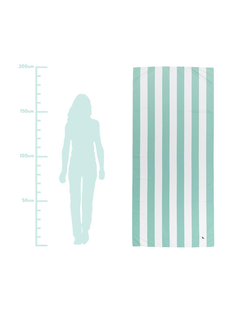 Telo mare in microfibra Cabana, asciugatura rapida, Microfibra (80% poliestere, 20% poliammide), Verde menta, bianco, Larg. 90 x Lung. 200 cm