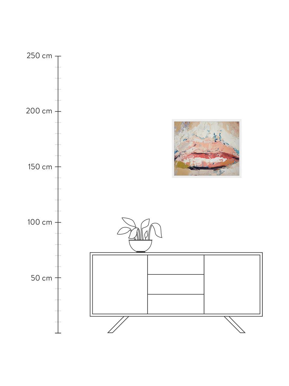 Gerahmter Digitaldruck Kiss Me, Bild: Digitaldruck auf Papier, , Rahmen: Holz, lackiert, Front: Plexiglas, Mehrfarbig, 63 x 53 cm
