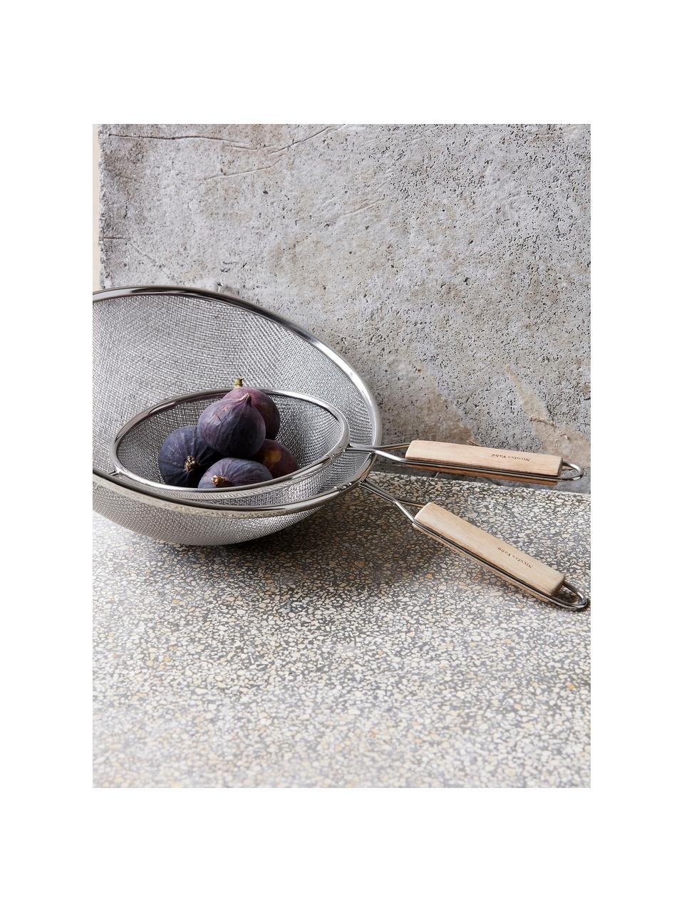 Küchensiebe Paka mit Holzgriff, 2er-Set, Sieb: Edelstahl, Griff: Holz, Edelstahl, Holz, Sondergrößen