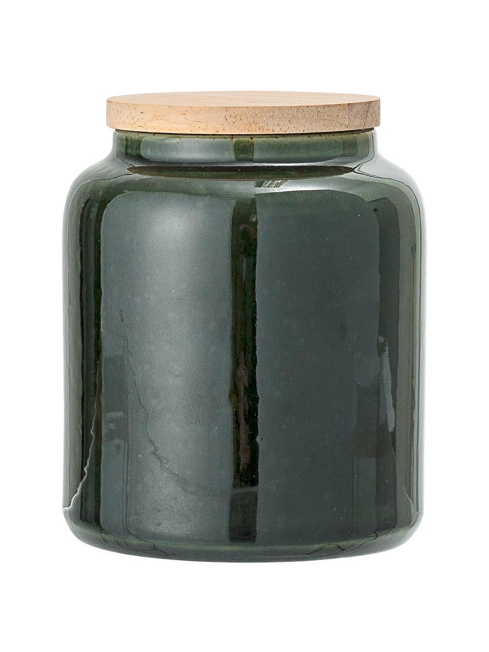 Ręcznie wykonany pojemnik do przechowywania Joelle, Ciemny zielony, Ø 10 x W 12 cm