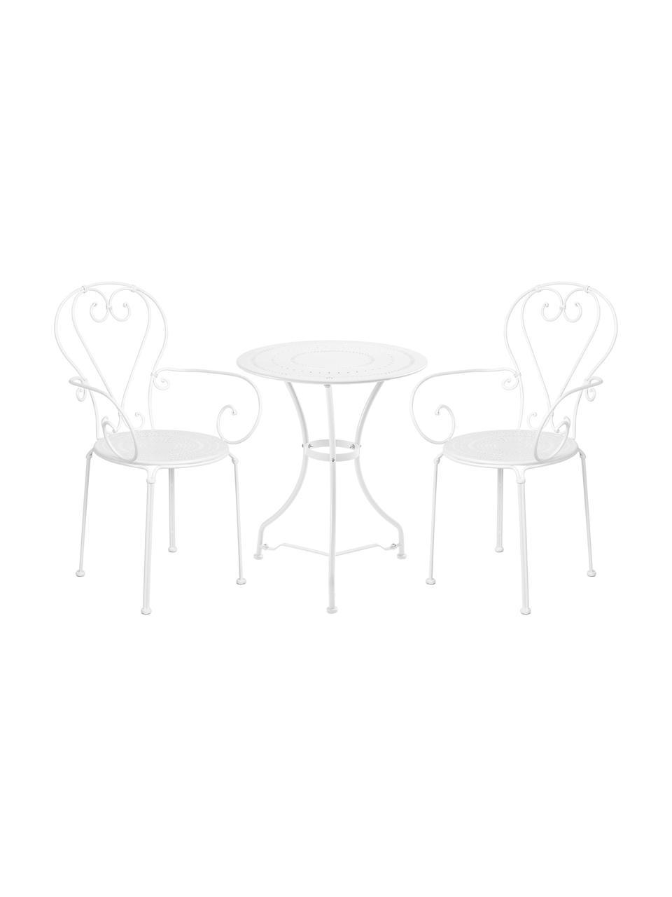 Balkonset Century mit Armlehnen aus Metall, 3-tlg., Metall, pulverbeschichtet und lackiert, Weiß, Set mit verschiedenen Größen