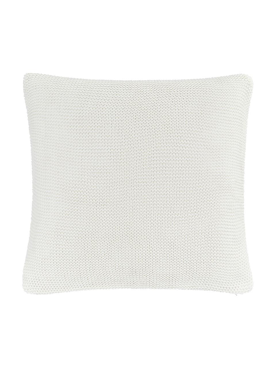 Dzianinowa poszewka na poduszkę z bawełny organicznej  Adalyn, 100% bawełna organiczna, certyfikat GOTS, Naturalny biały, S 60 x D 60 cm