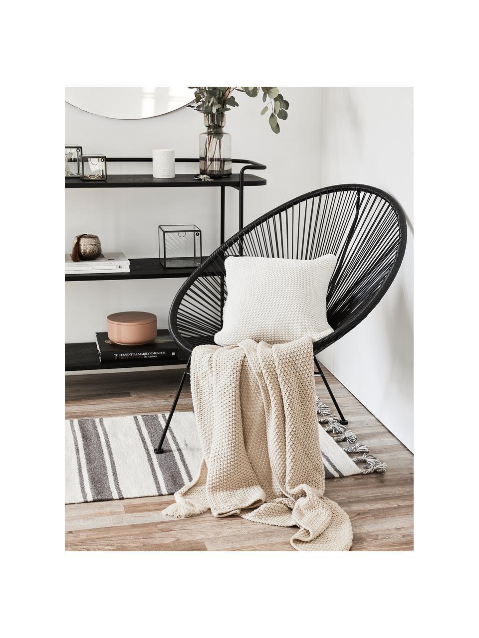 Poszewka na poduszkę z bawełny organicznej  Adalyn, 100% bawełna organiczna, certyfikat GOTS, Naturalny biały, S 60 x D 60 cm