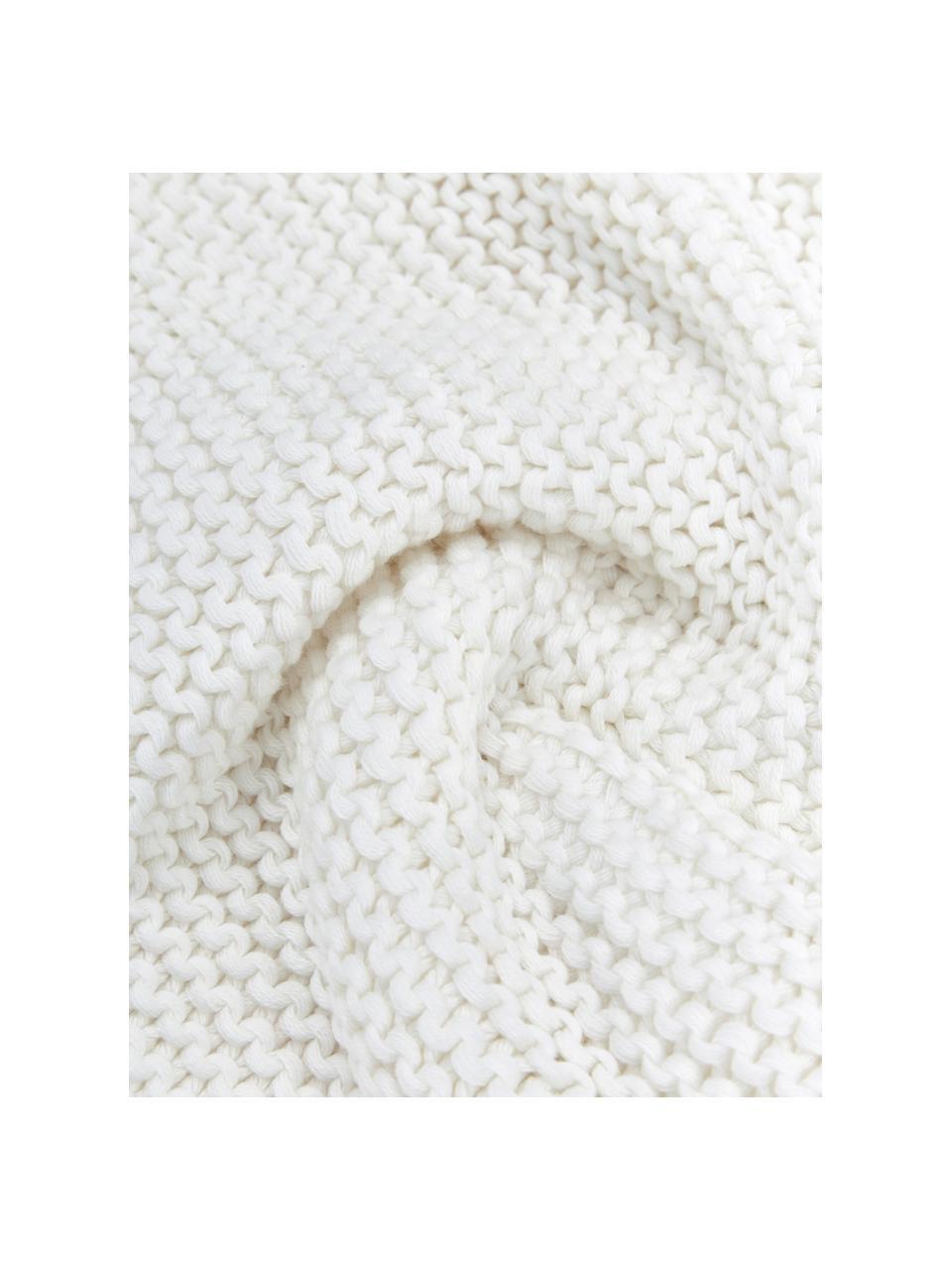Federa arredo a maglia in cotone biologico bianco Adalyn, 100% cotone biologico, certificato GOTS, Bianco naturale, Larg. 60 x Lung. 60 cm