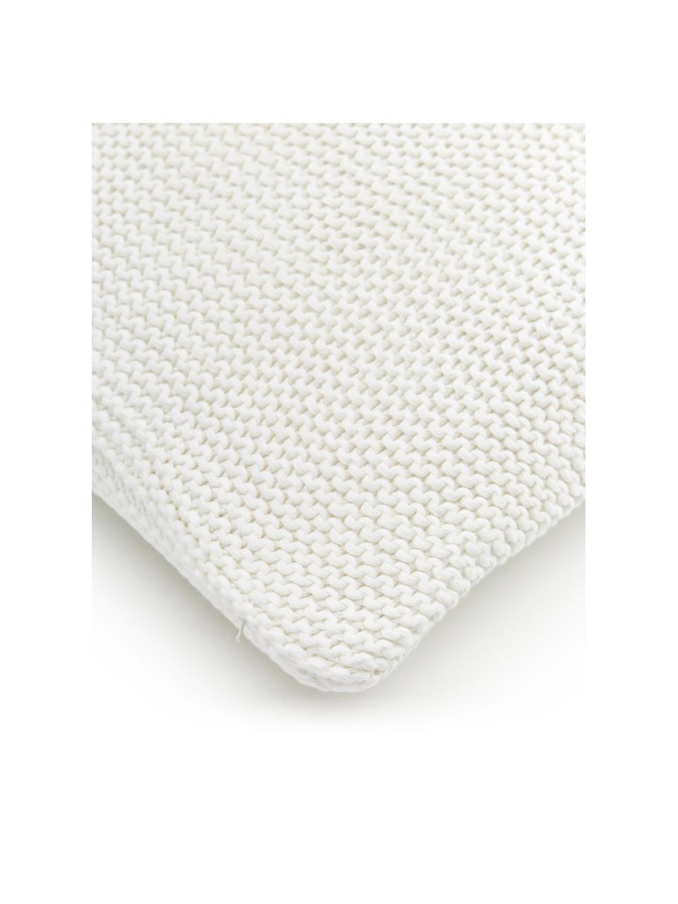 Strick-Kissenhülle Adalyn aus Bio-Baumwolle in Naturweiß, 100% Bio-Baumwolle, GOTS-zertifiziert, Naturweiß, 60 x 60 cm