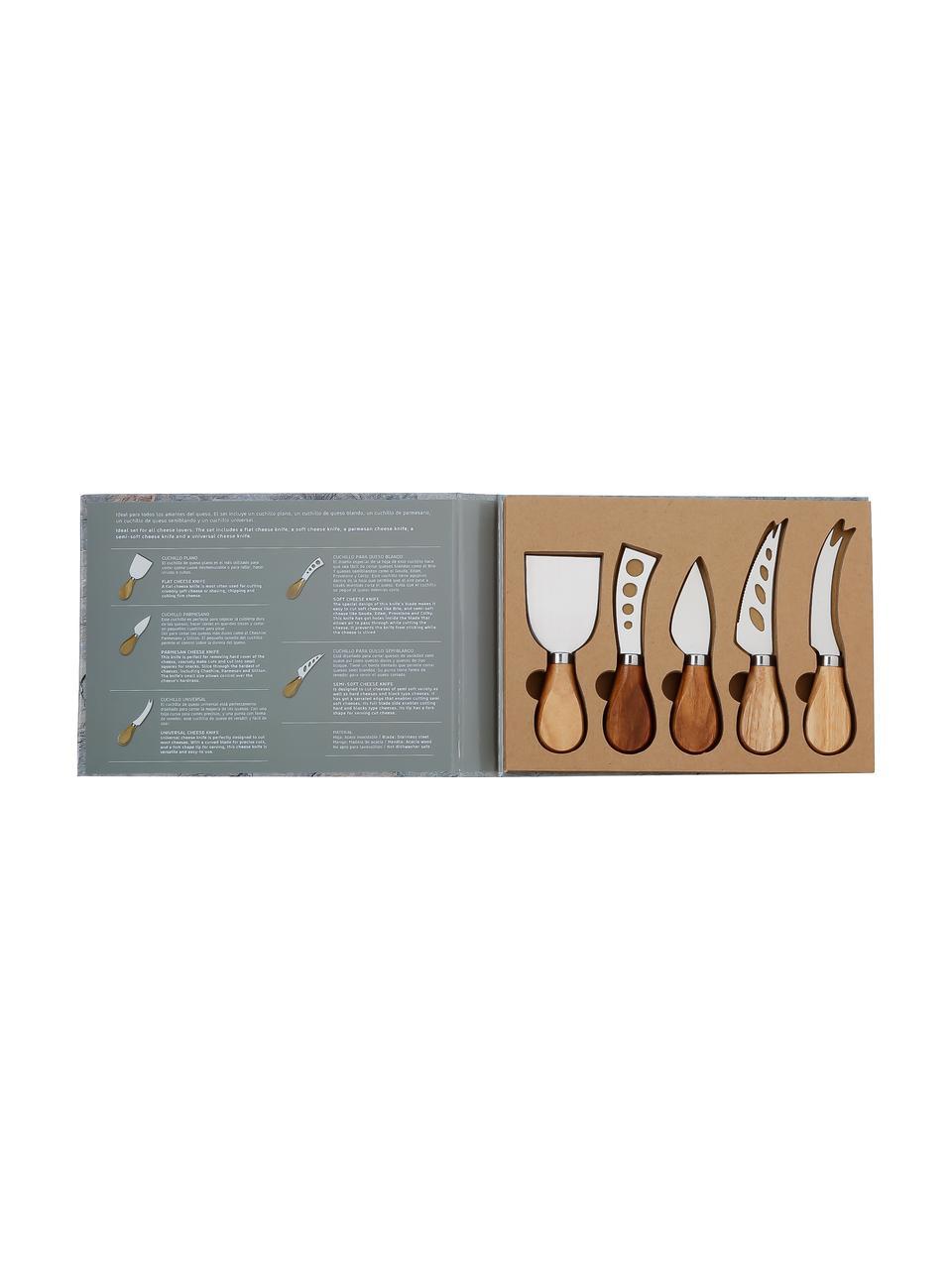 Zilverkleurige kaasmessenset Frija van edelstaal met acaciahouten handvat, 5-delig, Handvatten: acaciahout, Acaciahoutkleurig, edelstaalkleurig, Set met verschillende formaten