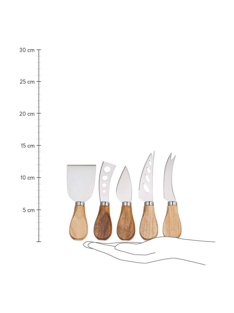 Silbernes Käsemesser-Set Frija aus Edelstahl mit Akazienholzgriff, 5-teilig, Griffe: Akazienholz, Akazienholz, Edelstahl, Sondergrößen