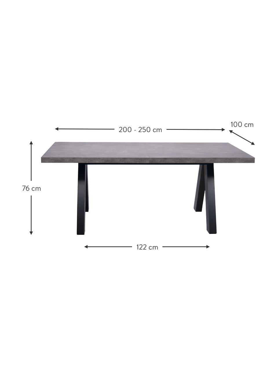 Verlängerbarer Esstisch Apex in Betonoptik, 200 - 250 x 100 cm, Tischplatte: Leichtbau-Wabenstruktur, , Beine: Mitteldichte Holzfaserpla, Beton-Optik, B 200 bis 250 x T 100 cm