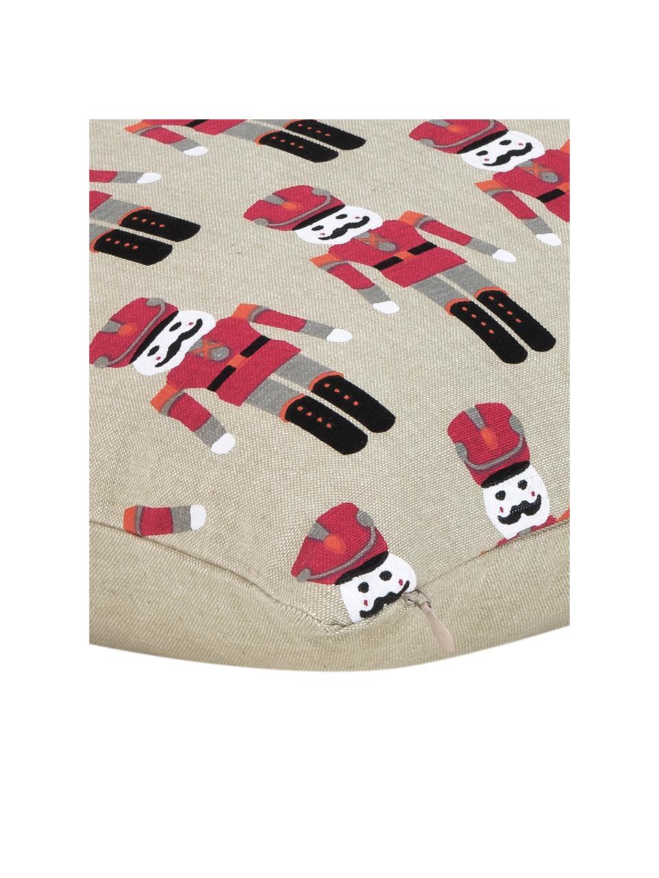 Poszewka na poduszkę Nutcracker, Bawełna, Beżowy, czerwony, S 45 x D 45 cm