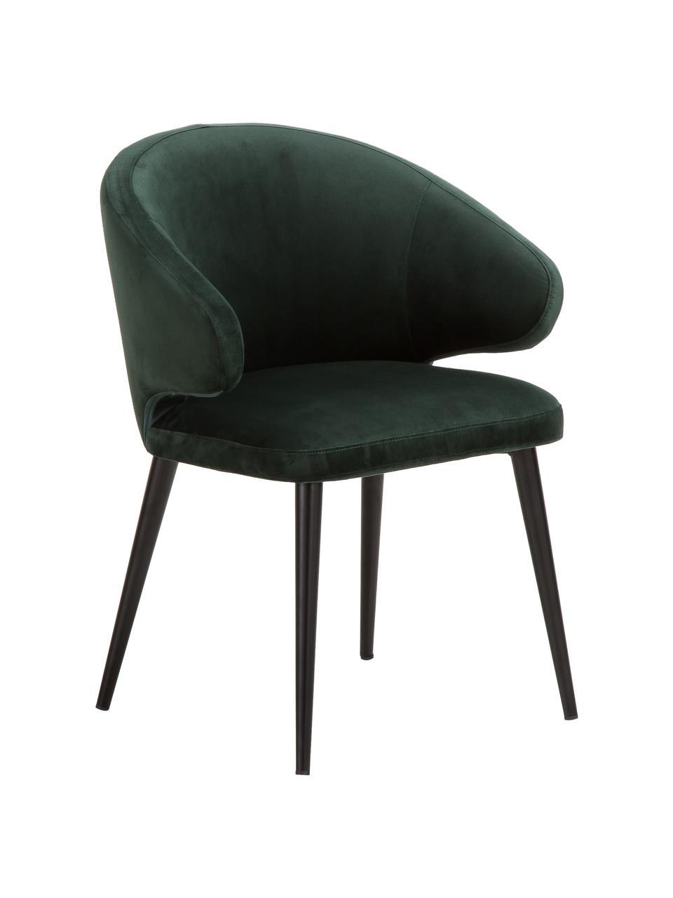 Sedia con braccioli moderna in velluto Celia, Rivestimento: velluto (poliestere) Con , Gambe: metallo verniciato a polv, Velluto verde scuro, Larg. 57 x Prof. 62 cm
