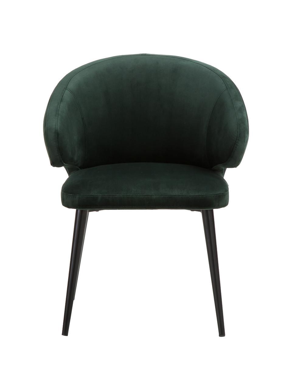 Moderní sametová židle spodručkami Celia, Tmavě zelená