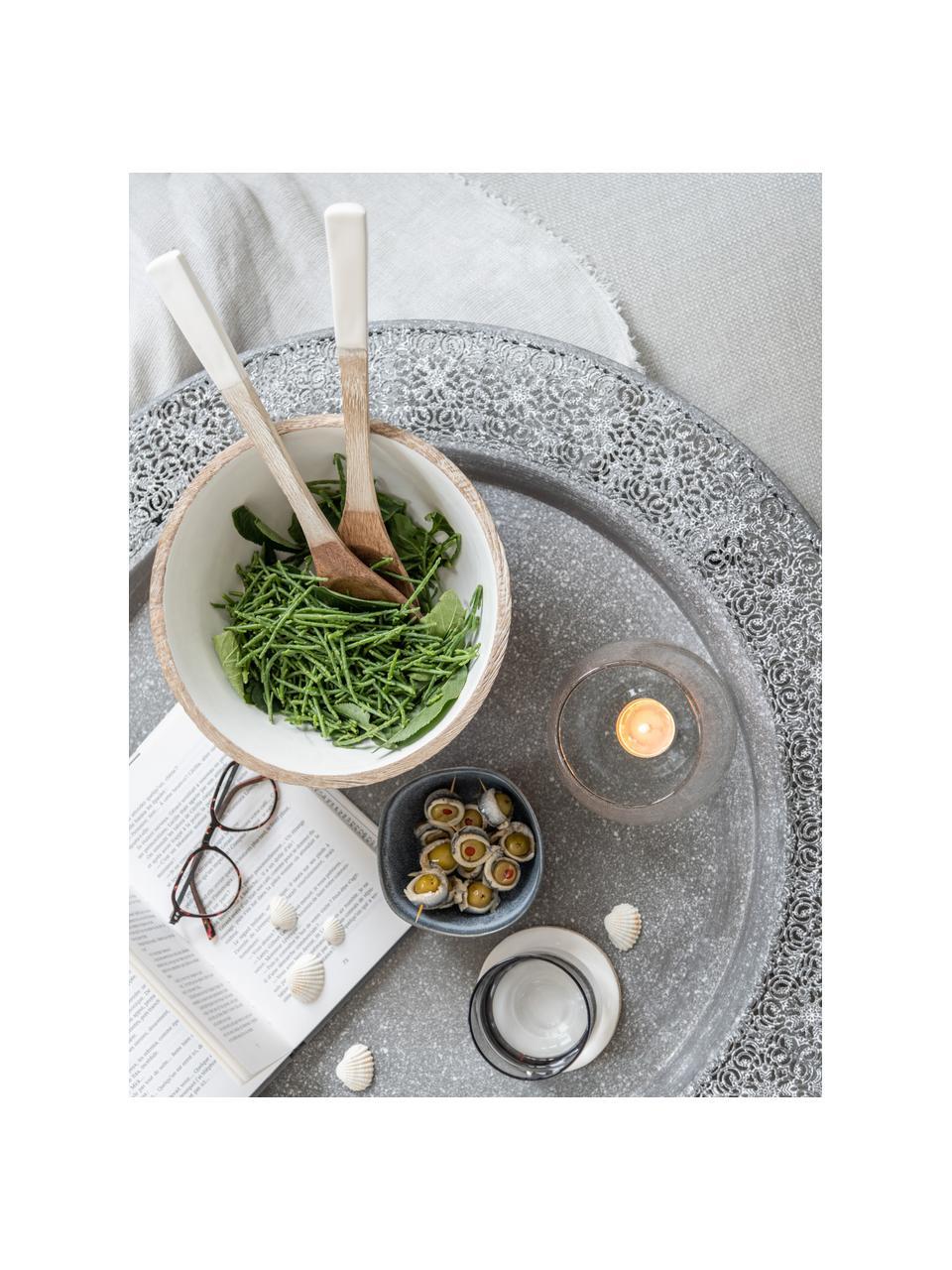 Salatbesteck Lugo aus Mangoholz, 2er-Set, Mangoholz, beschichtet, Weiß, Mangoholz, L 30 cm