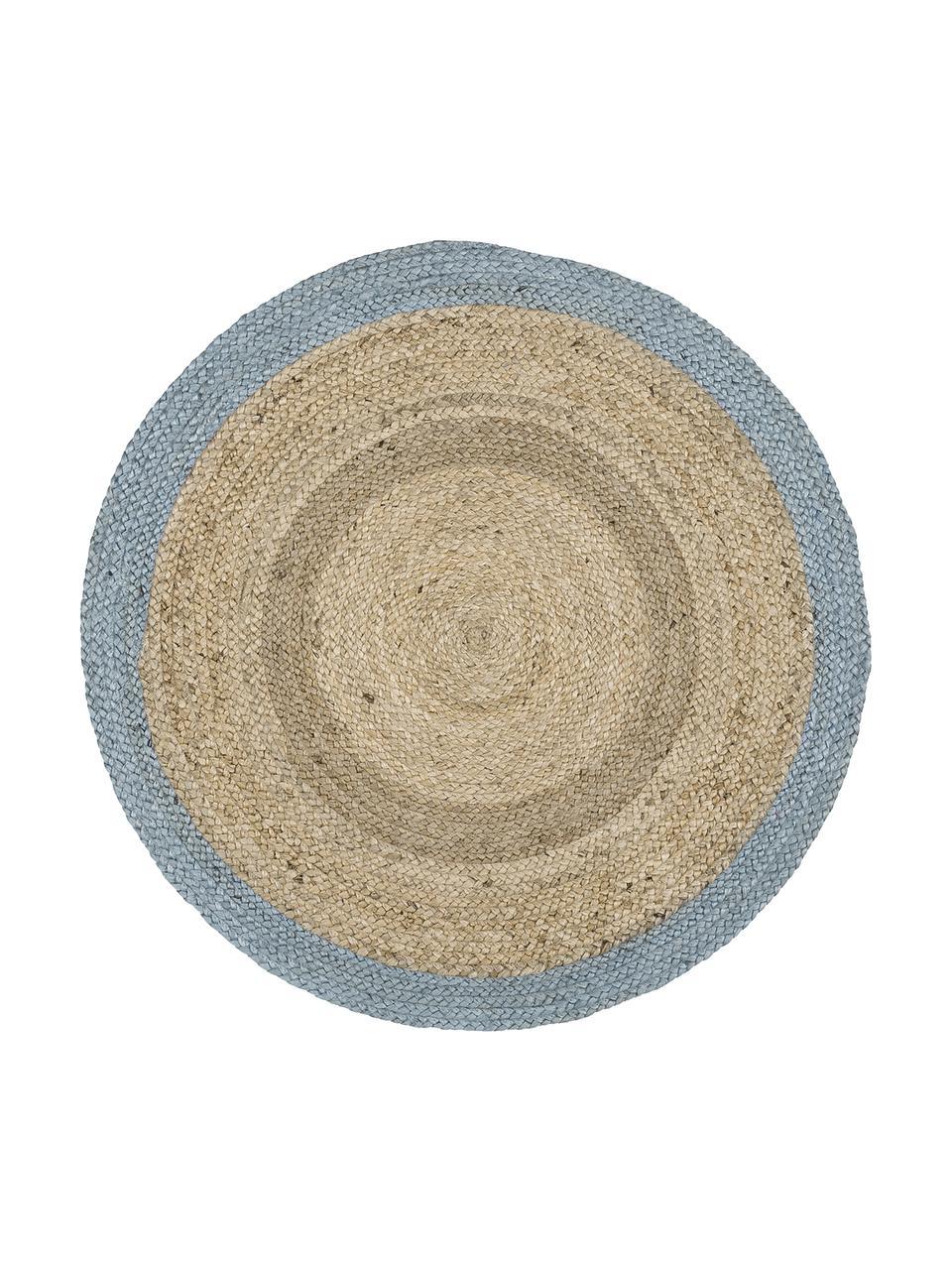 Tappeto rotondo in juta fatto a mano Shanta, 100% juta, Juta, blu tortora, Ø 100 cm (taglia XS)