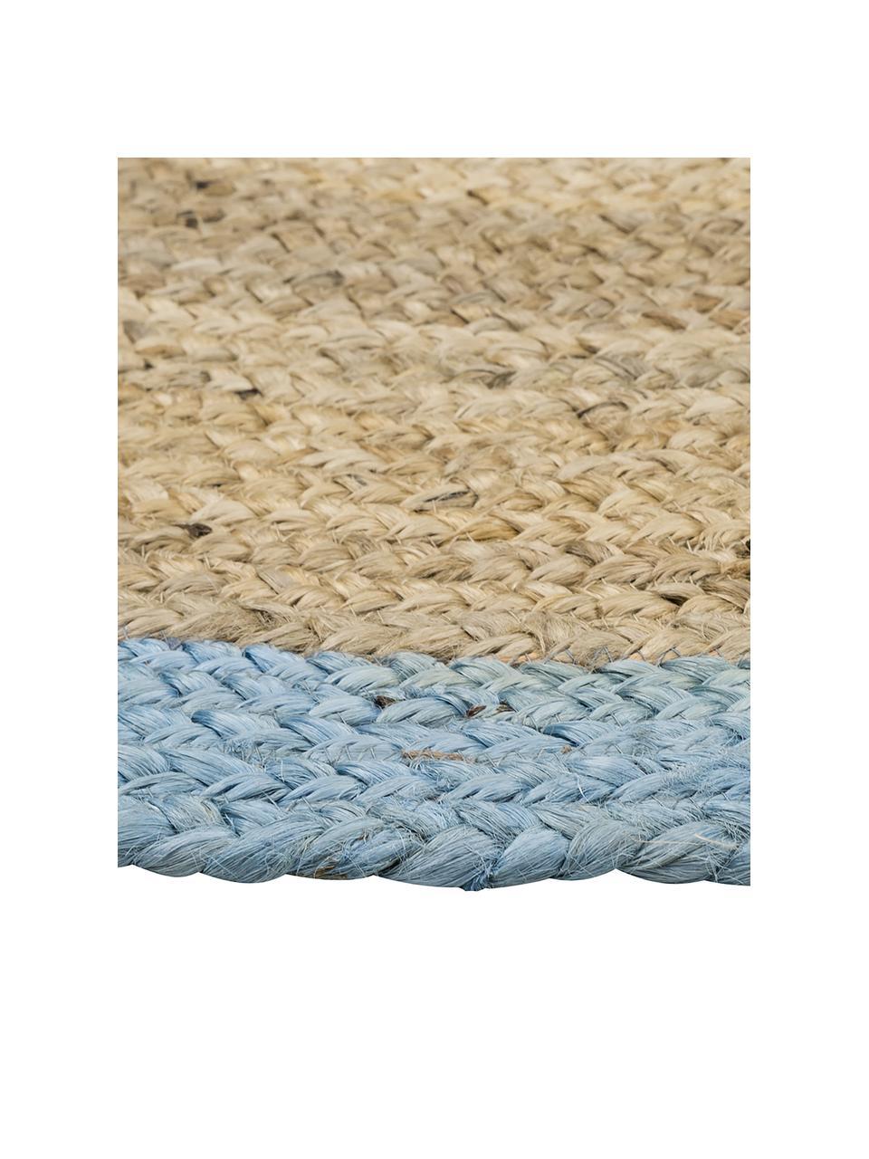 Runder Jute-Teppich Shanta mit blauem Rand, handgefertigt, 100% Jute, Jute, Taubenblau, Ø 100 cm (Größe XS)