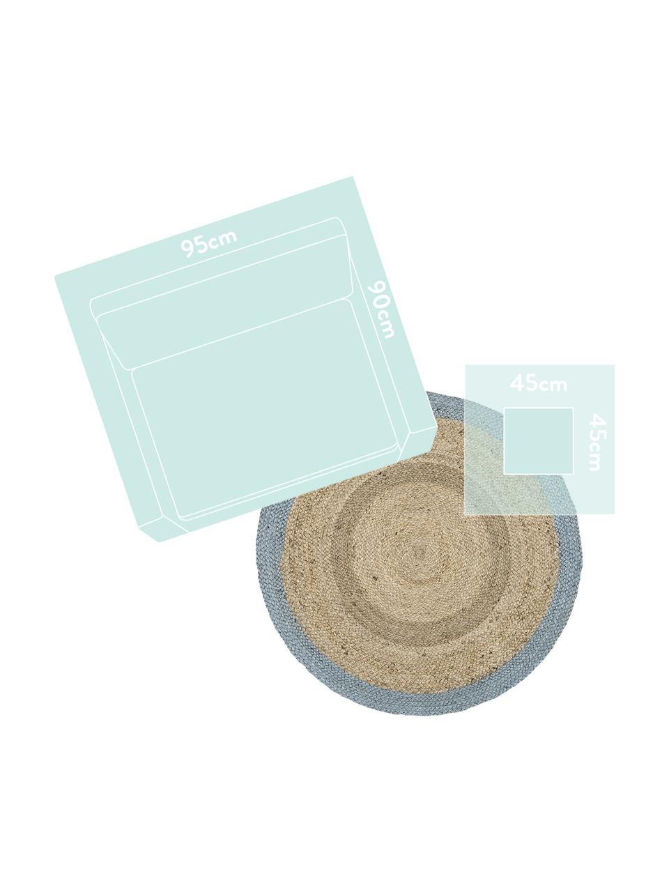 Okrągły ręcznie wykonany dywan z juty Shanta, 100% juta, Beżowy, szaroniebieski, Ø 100 cm (Rozmiar XS)
