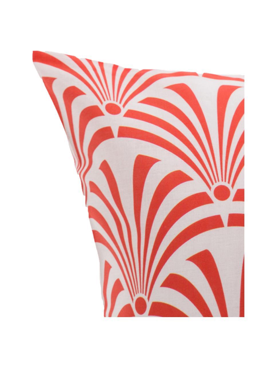 Parure copripiumino in cotone Crone, Cotone, Fronte: rosso salmone, bianco Retro: bianco, 200 x 200 cm + 2 federe 50 x 80 cm