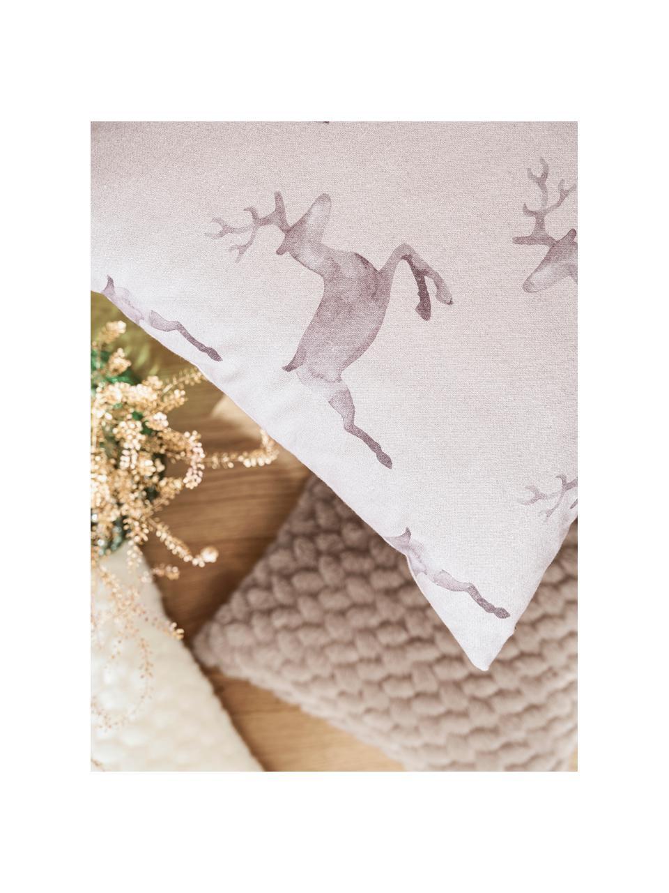 Housse de coussin 50x50 réversible motif cerf Rana, Tonsgris