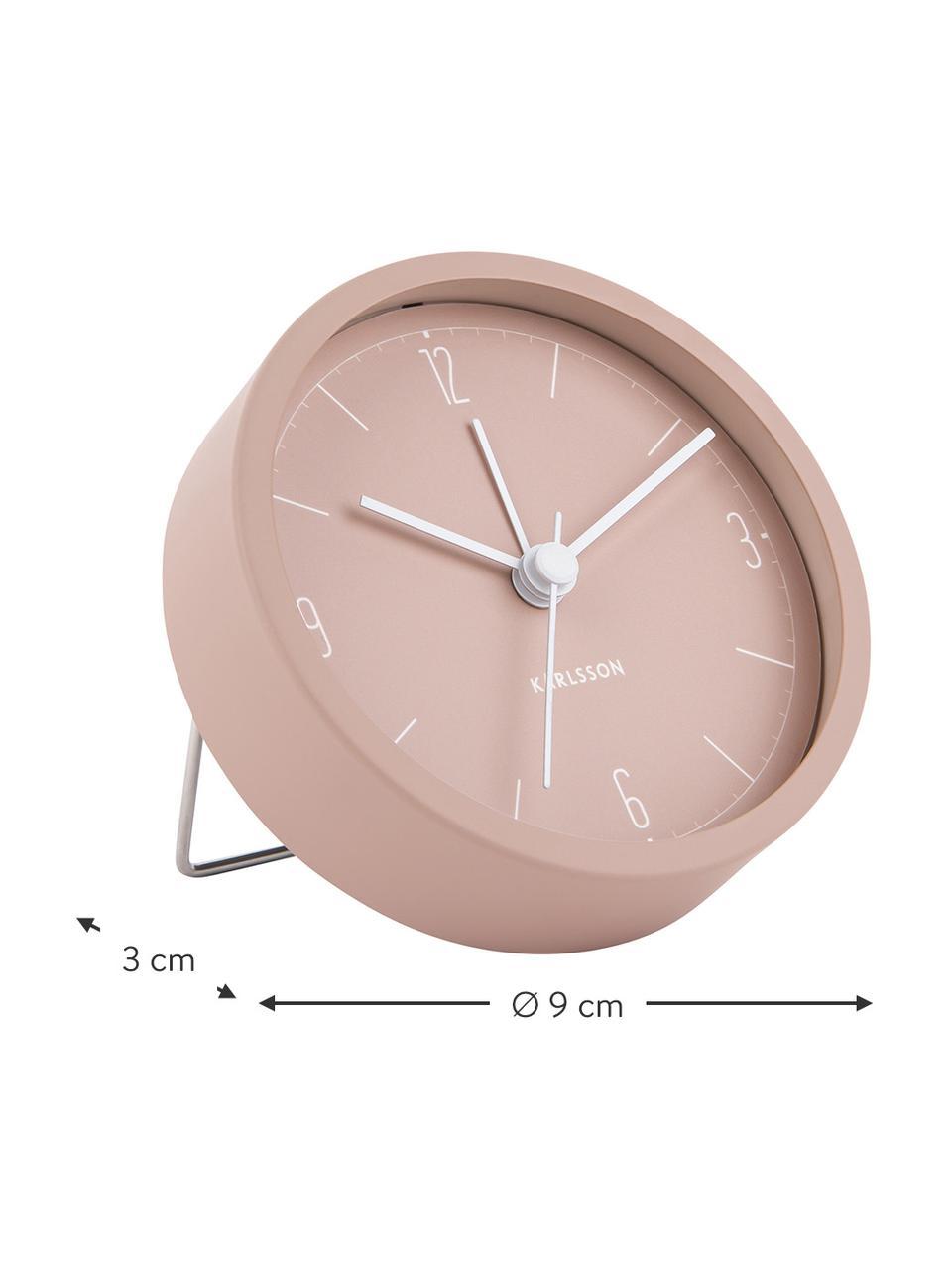 Despertador Numbers & Lines, Metal recubierto, Rosa, Ø 9 cm