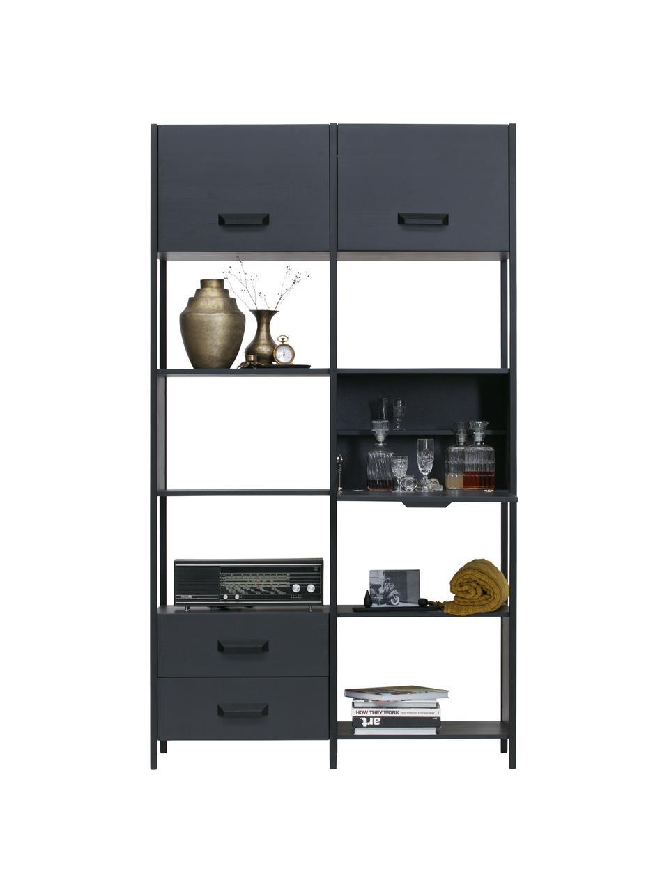Libreria in metallo con contenitore Legacy, Struttura: acciaio verniciato, Nero, Larg. 123 x Alt. 220 cm