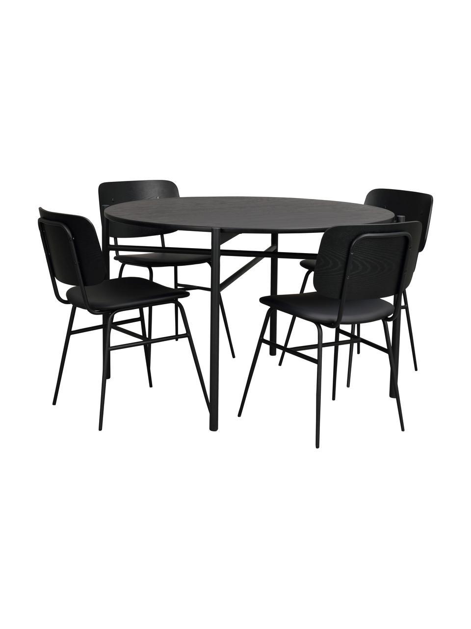 Runder Esstisch Skye, Ø 120 cm, Tischplatte: Mitteldichte Holzfaserpla, Beine: Metall, pulverbeschichtet, Schwarz, Ø 120 x H 75 cm