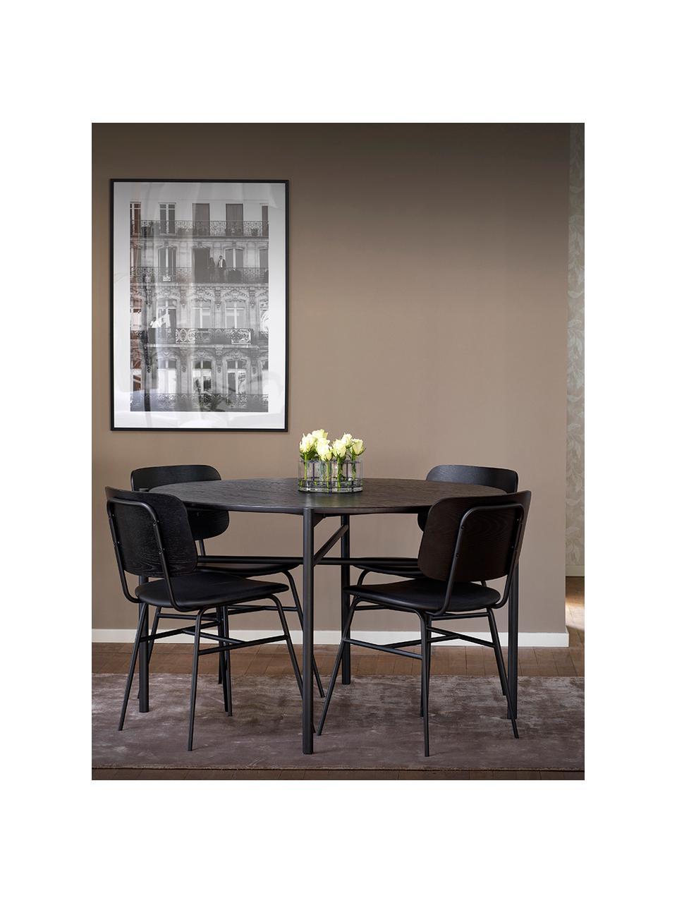 Tavolo rotondo nero Skye Ø120 cm, Piano d'appoggio: pannello in fibra di medi, Gambe: metallo verniciato a polv, Nero, Ø 120 x Alt. 75 cm