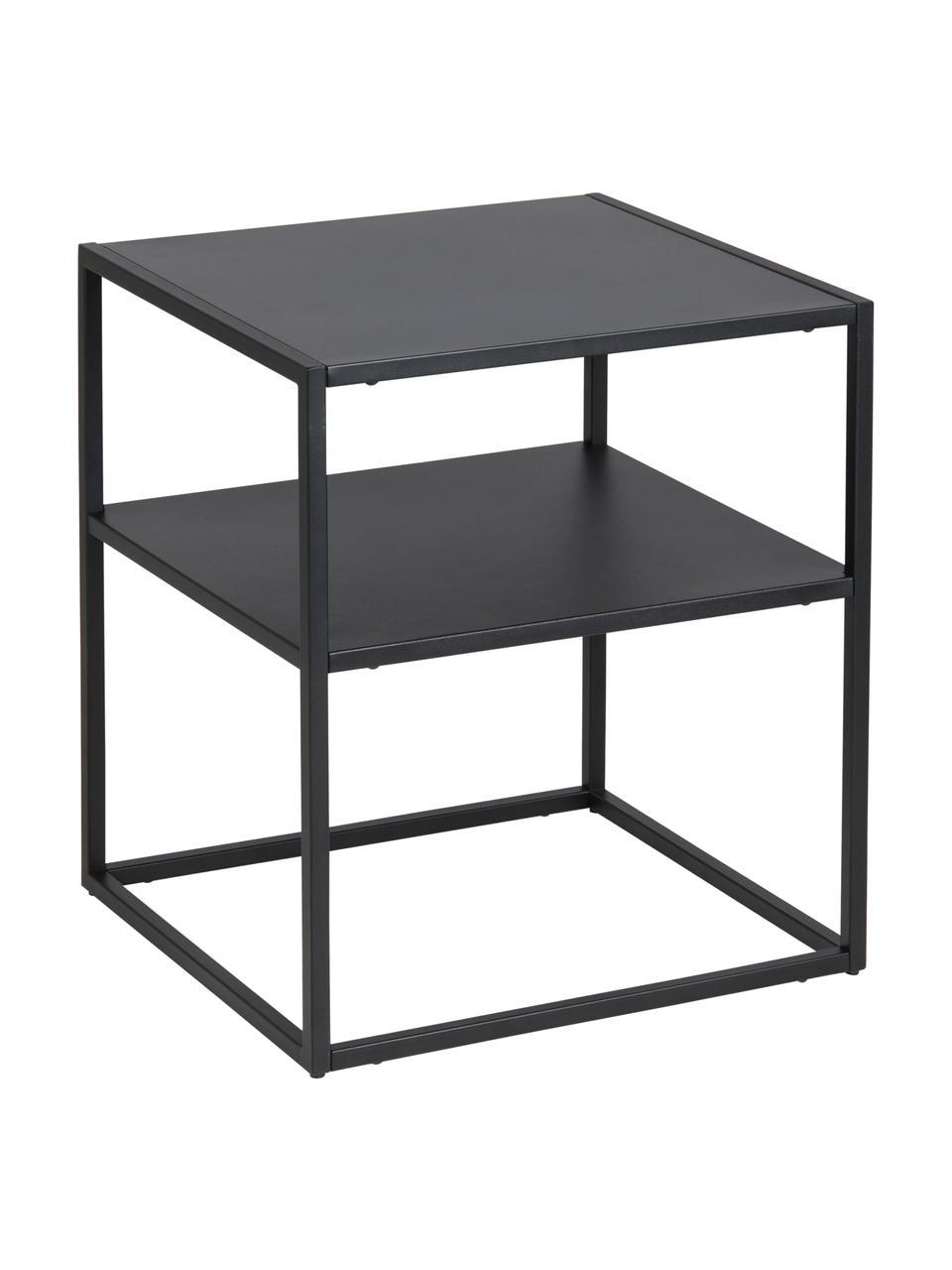 Tavolino in metallo nero Neptun, Metallo verniciato a polvere, Nero, Larg. 45 x Prof. 40 cm