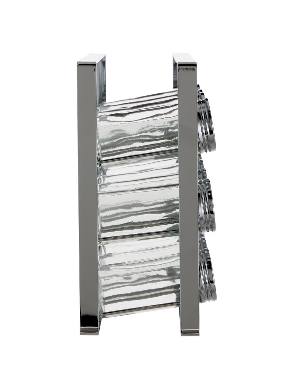 Set portaspezie con contenitori Spices 13 pz, Struttura: metallo verniciato, Contenitori: vetro, Coperchio: alluminio verniciato, Argentato, Larg. 24 x Alt. 22 cm