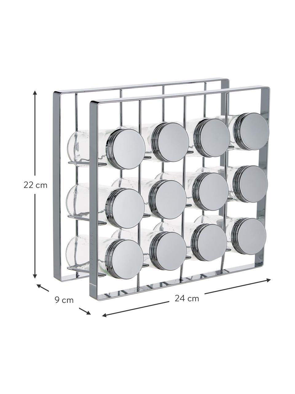 Gewürzregal Spices mit Aufbewahrungsdosen B 24 x H 22 cm, 13-tlg., Gestell: Metall, lackiert, Dosen: Glas, Deckel: Aluminium, lackiert, Silberfarben, 24 x 22 cm