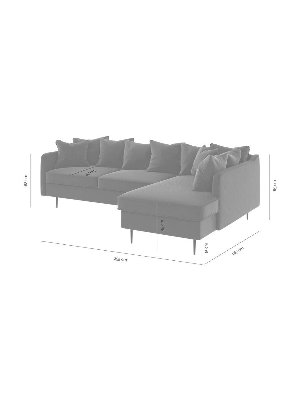 Sofa narożna z aksamitu Esme, Tapicerka: 100% aksamit poliestrowy, Stelaż: drewno liściaste, drewno , Nogi: metal powlekany Dzięki tk, Beżowy, S 255 x G 165 cm