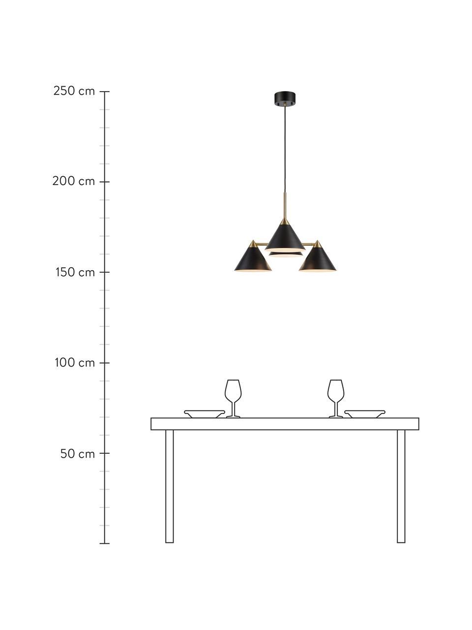 Lampada a sospensione Klint, Baldacchino: metallo rivestito, Nero, dorato, Ø 57 x Alt. 46 cm