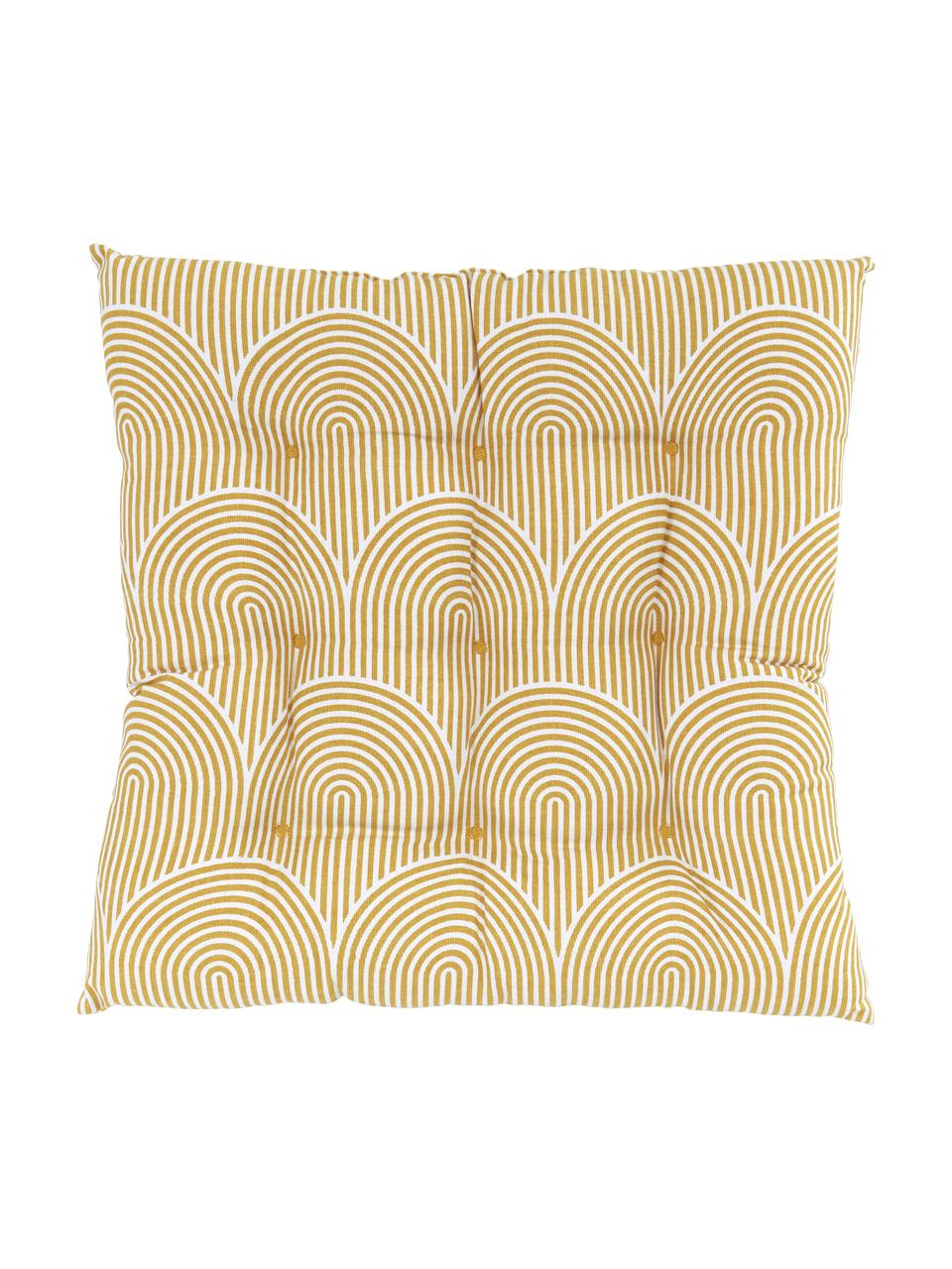 Sitzkissen Arc in Gelb/Weiß, Bezug: 100% Baumwolle, Gelb, 40 x 40 cm