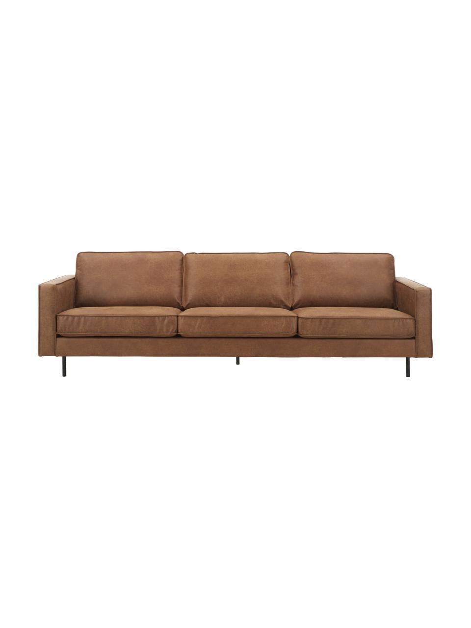 Sofa skórzana z recyklingu Hunter (4-osobowa), Tapicerka: skóra z recyklingu (70% s, Nogi: tworzywo sztuczne, Brązowy, S 264 x G 90 cm