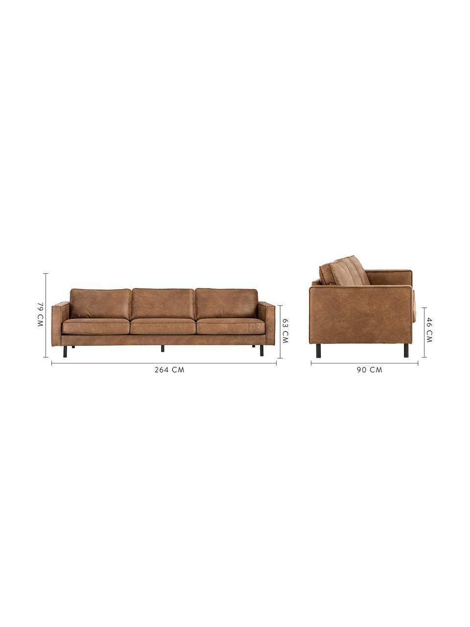 Bank Hunter (4-zits) in bruin van gerecycled leer, Bekleding: gerecycled leer (70% leer, Frame: massief berkenhout en HDF, Poten: gepoedercoat metaal, Leer bruin, B 264 x D 90 cm