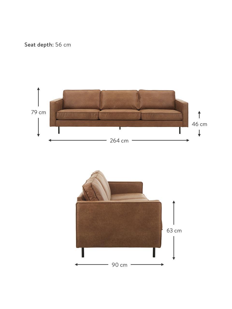 Canapé 4places cuir Hunter, Cuir brun