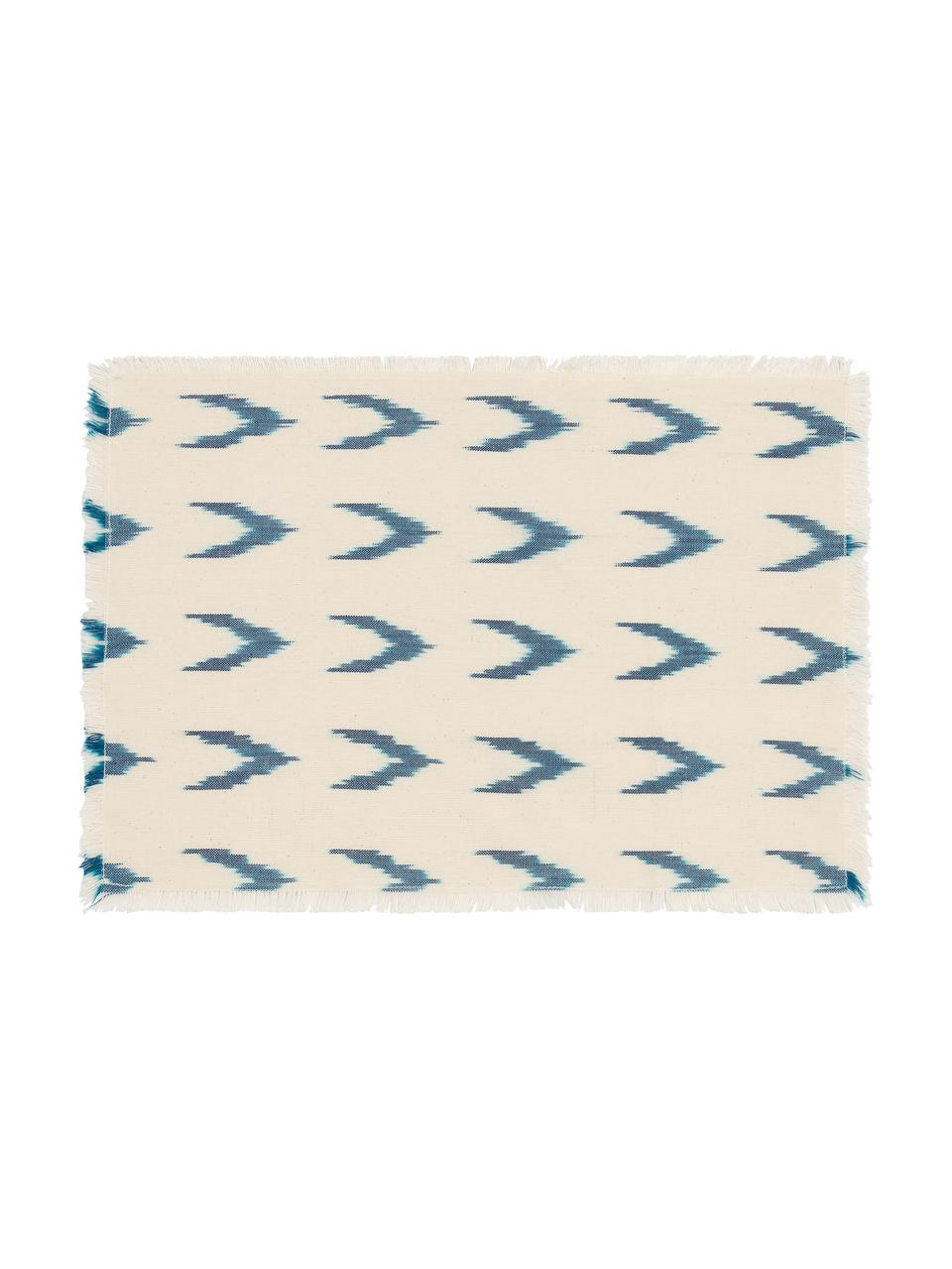 Set de table en tissu, bohème Cala, Bleu, blanc