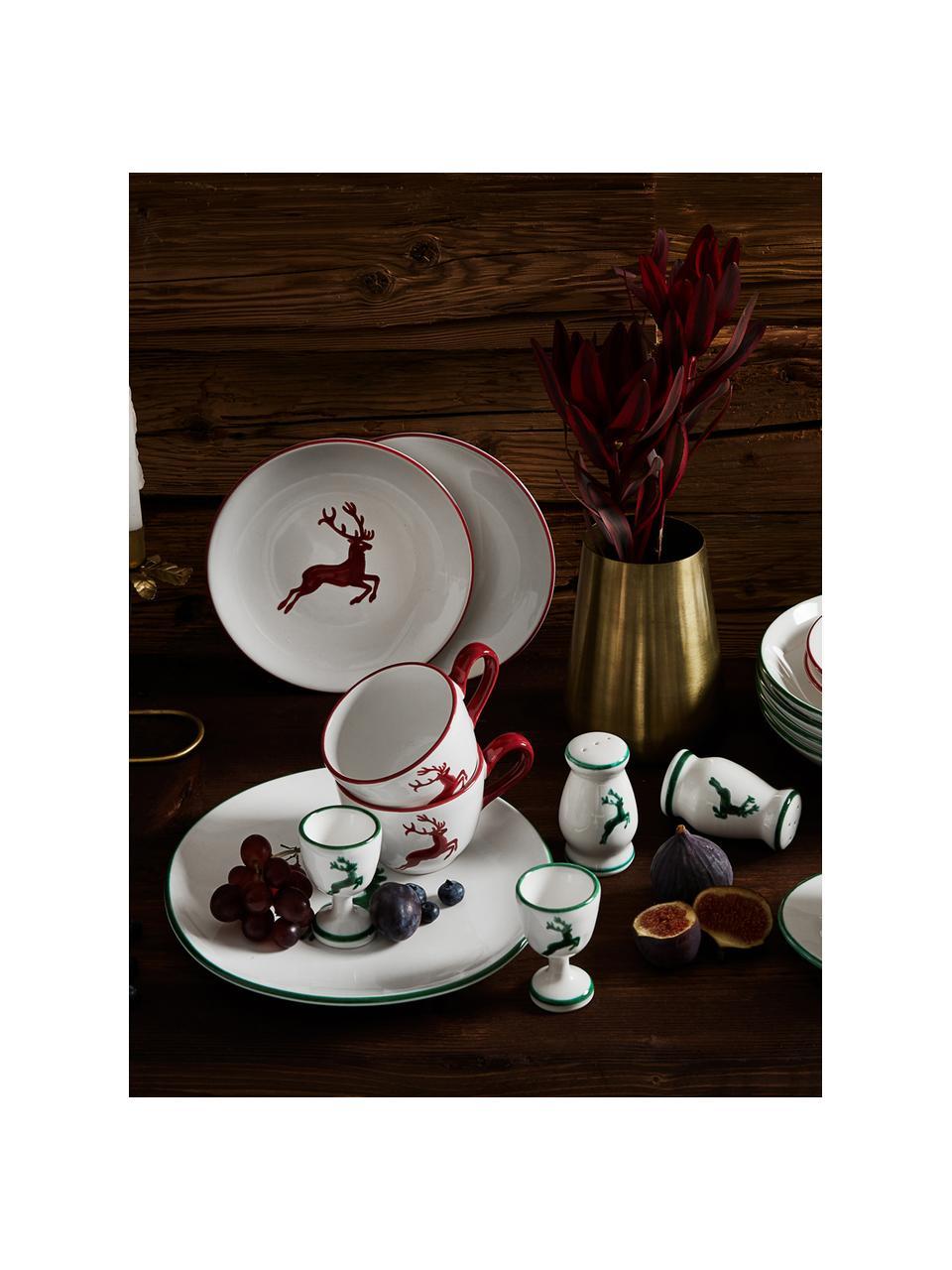 Handbemaltes Kaffeeservice Classic Roter Hirsch, 2 Personen (6-tlg.), Keramik, Bordeauxrot, Weiß, Sondergrößen