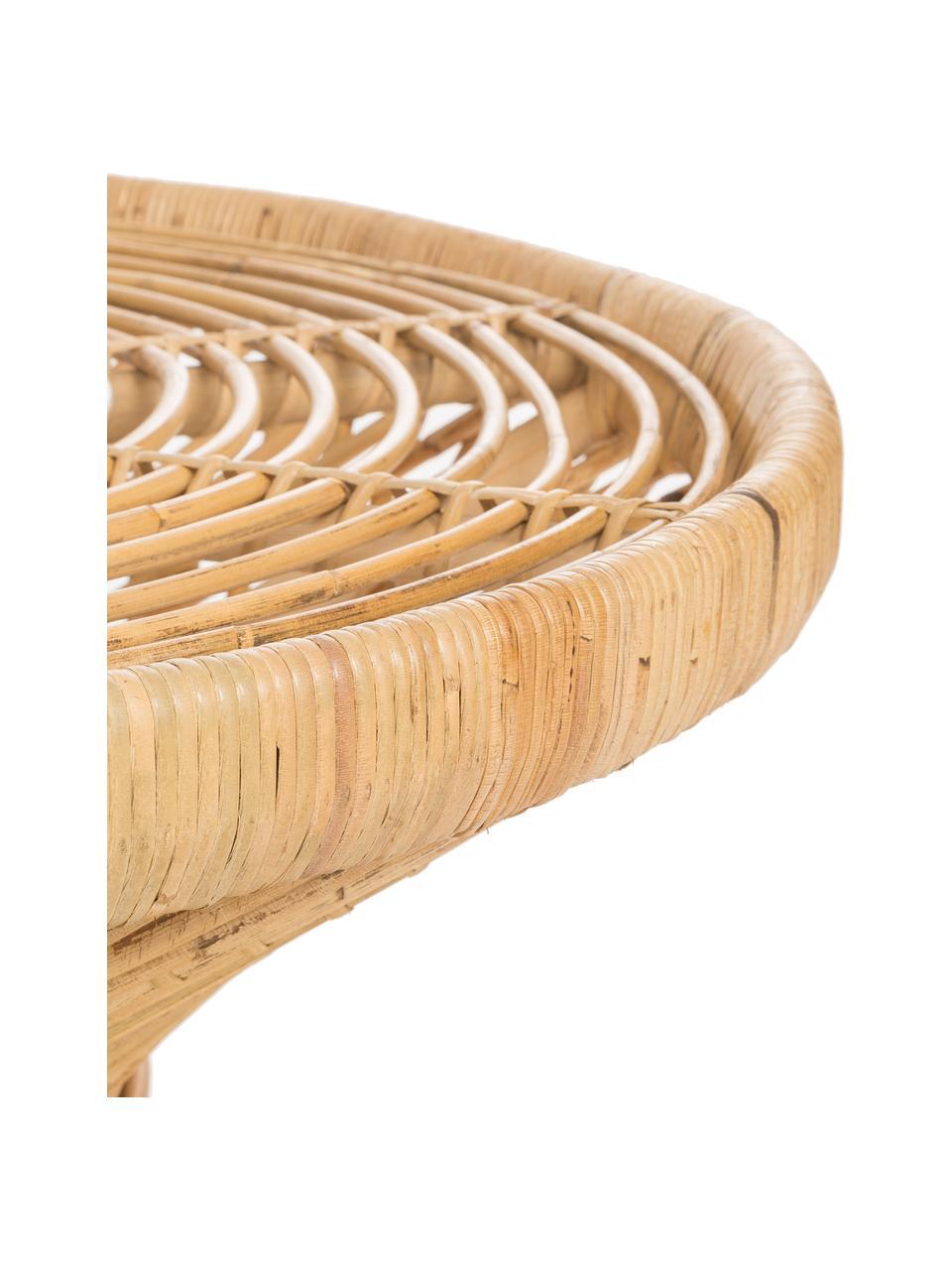 Rattan-Couchtisch Marvel im Boho Style, Rattan, naturbelassen, Rattan, naturbelassen, Ø 80 x H 47 cm