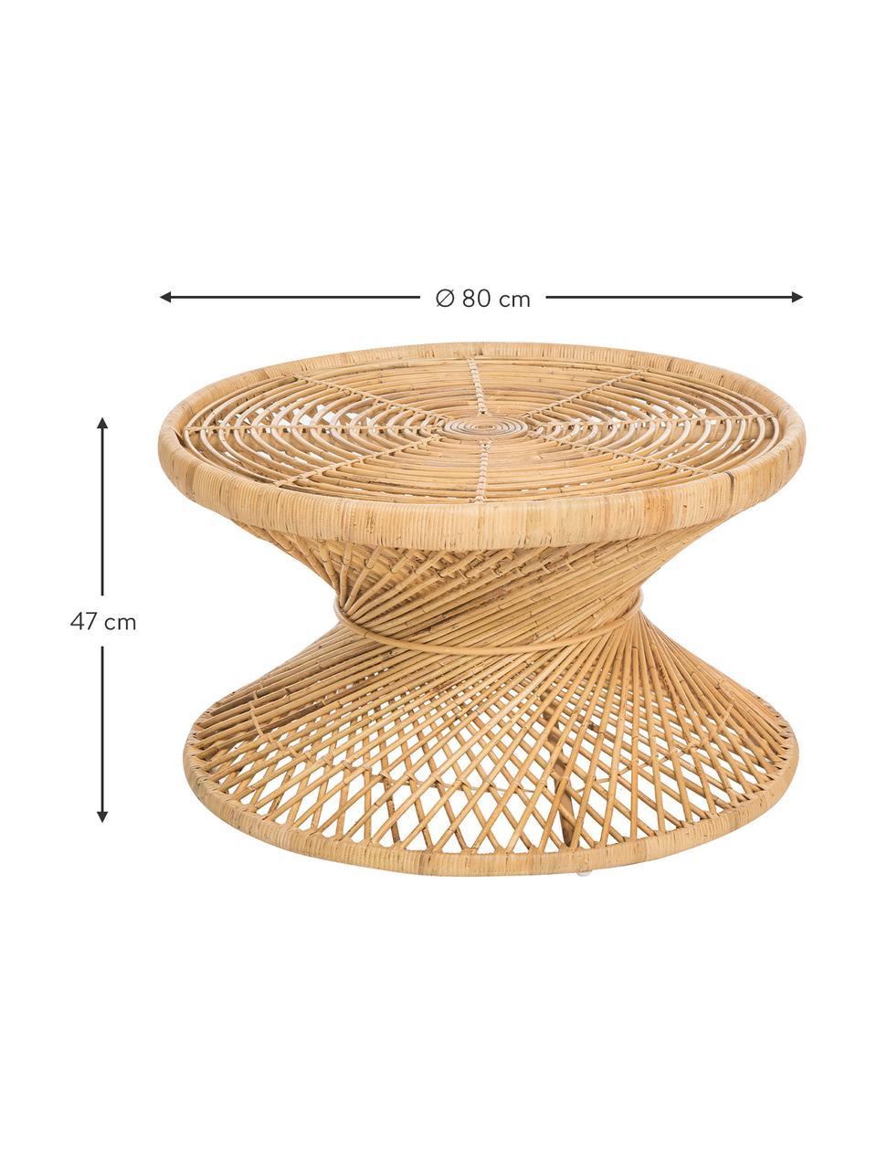 Stolik kawowy z rattanu Marvel, Naturalny rattan, Rattan, naturalny, Ø 80 x W 47 cm