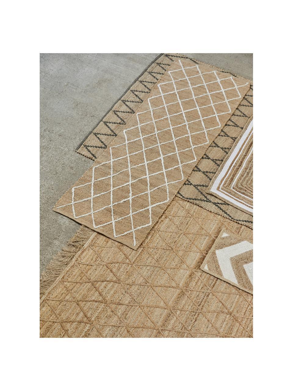 Handgefertigte Jute-Fußmatte Kunu, 100% Jute, Beige, Weiß, 50 x 80 cm